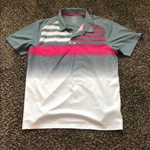 Oakley Grey/Pink/White Men's Polo.